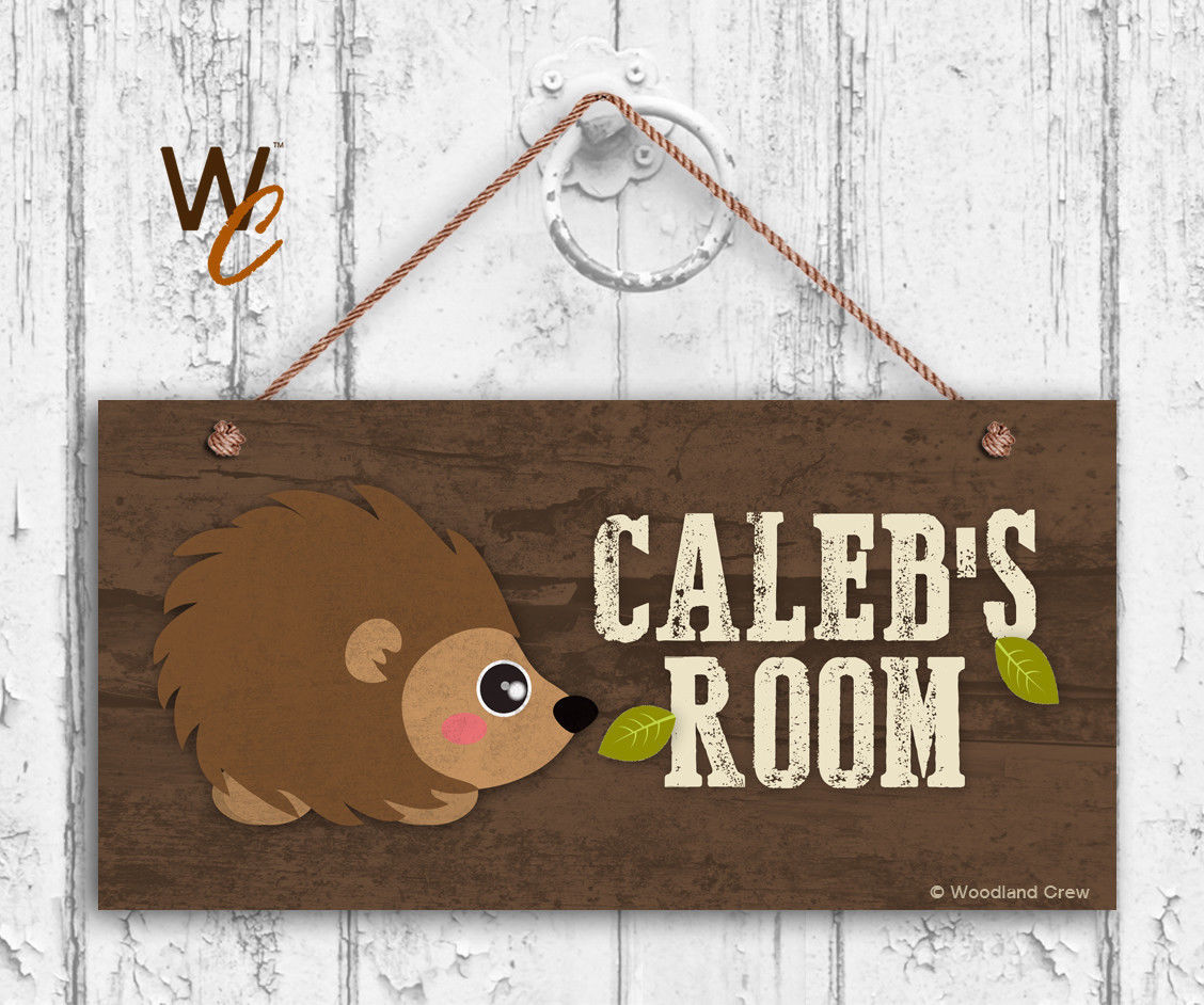 Hedgehog Sign, Woodland Personalized Sign, Kid's Name, Kids Door Sign, 5x10 Sign