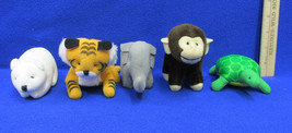 5 McDonalds National Wildlife Plush Animals Bear Tiger Monkey Turtle Ele... - $9.89
