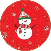"Very Merry Snowman Christmas 9"" Dinner Luncheon Paper Plates 10 Ct - $3.49"