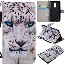 XYX Wallet Phone Case for LG K10 2018,[White Leopard][Wrist Strap][Kicks... - $4.94