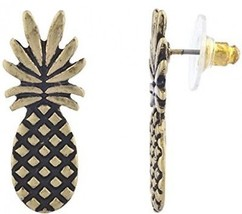 Lux Accessories Burnished Gold Pineapple Fruit Tropical Novelty Earring ... - $12.13