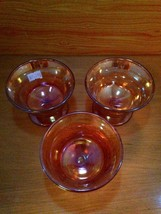 Vintage 3 pc. Carnival Glass Sherbet Ice Cream Dish Set image 2