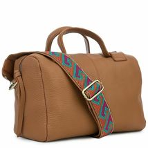 Women's Leather Satchel Handbag Purse with Embroidered Tribal Pattern Strap image 10