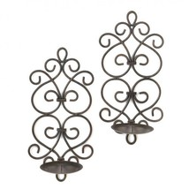 Black Iron Scrollwork Candle Wall Sconces - $22.99