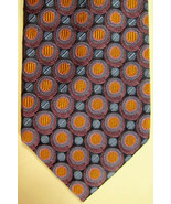 Nuovo Carrot & Gibbs Blu, Arancione, Viola Circles Fatto a Mano Seta Cra... - $44.98