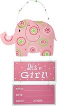 """Elephant Wooden Wall Hanging Pink""""It's a Girl!"""" with Birth Statistics - $41.18"""
