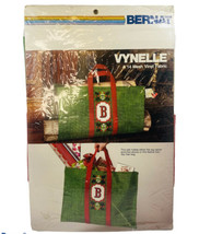 Bernat Vynelle Holiday Tote Log Carrier Kit Needlepoint Green Red Christ... - $19.79