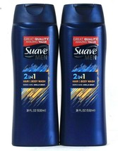 2 Bottles Suave Men 18 Oz 2 In 1 Hair & Body Wash Works Hard Smells Great - $18.99