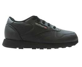 Reebok Classic Leather Triple Black Junior Grade School Sneakers 50148 - $49.95