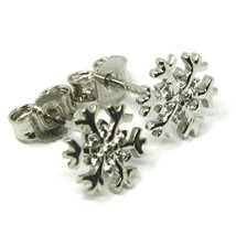 SOLID 18K WHITE GOLD EARRINGS FLAT SNOWFLAKE, SHINY, SMOOTH, 9 MM CUBIC ZIRCONIA image 1