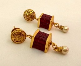 Indian Gold Plated Ethnic Style Maroon Pearl Drop Dangle Earrings Pair J... - $12.36