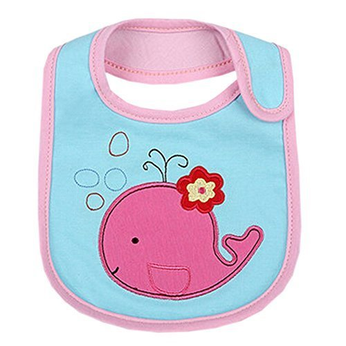 Lovely PINK Whale Cotton/PVC Adjustable Waterproof Baby Bib Pocket Bib 612""