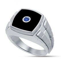 Solitaire Blue Sapphire Mens Engagement Ring 14k White Gold Fn 925 Solid... - £67.88 GBP