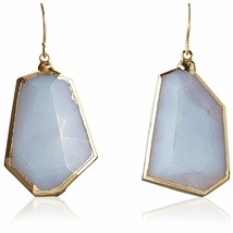 Janna Conner 18K Gold Plated Blue Lace Agate Shepherds Hook Earrings NWT