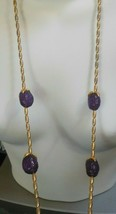 Vintage Signed Givenchy Long Purple Fruit Chain Necklace 1980's - $84.15