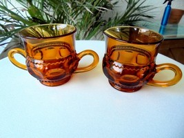Vintage Indiana Glass Crown Gold Cream & Sugar Bowl  c1950's - $11.88