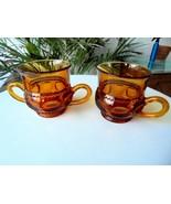 Vintage Indiana Glass Crown Gold Cream & Sugar Bowl  c1950's - $11.88