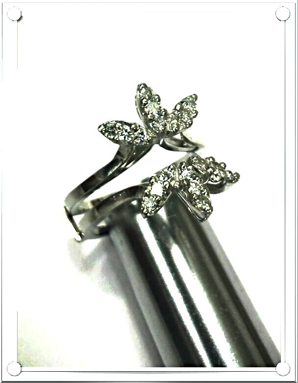 14K W.GOLD 18 DIAMOND STARBURST INSERT (.55 CTW) for ENGAGEMENT RING ENH