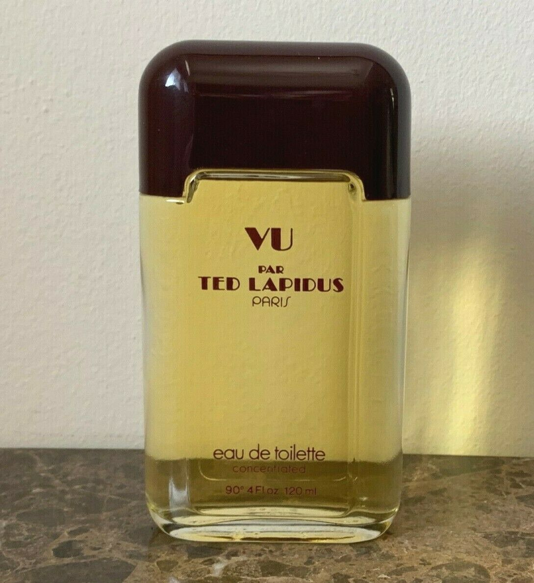 Primary image for Vintage Ted Lapidus Vu 4 Oz 120 Ml Concentrated EAU de Toilette Perfume Bottle