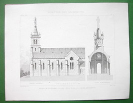 ARCHITECTURE 2 PRINTS : France Church at Sainte Marie sur Ouche - $8.55