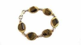 Vintage 60's Gold Filled & Tiger Eye Link Bracelet - $16.00