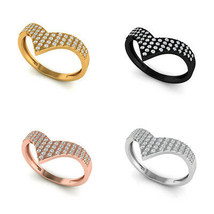 Solid 18k Gold Chevron Designer Ring Natural Pave Diamond Fine Handmade ... - $363.80