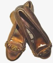 COACH  Katrin Gold Bronze Metallic slip on turn lock Loafers Flats  SHOE... - $65.09