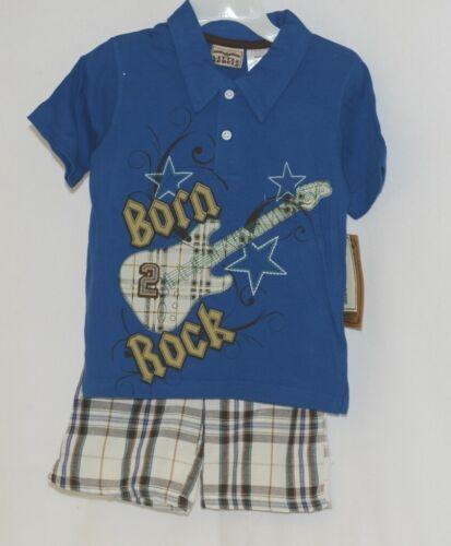 Little Rebels Boys Two Piece Born 2 Rock Shirt Shorts Outfit 24 Months