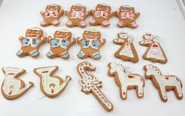 Vintage Christmas Tree Ornaments Lot Frosted Gingerbread Man Woman Styro... - $24.99