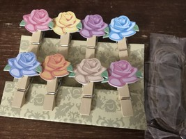 60pcs Rose Paper Wood Pegs,Rose Wooden Photo Clips,Small Wedding Gift Fa... - $11.50