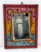 Vintage India Lady Black and White Photo With Flower Print Carved Wooden... - $65.45