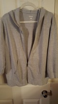 Hanes three quarter sleeve hoodie Grey zipper front size extra large - £6.90 GBP
