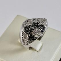 925 Silber Ring mit Blüte aus Zirkonia Kubische Weiß & Schwarz image 2