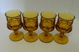 Kings Crown Thumb Print Amber Wine Water Goblets Lot of Four Indiana Glass - $19.75