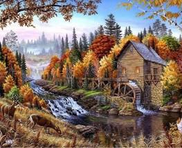 Paint By Numbers DIY Kit River Animals Forest Landscape 40CMx50CM Canvas - $13.86
