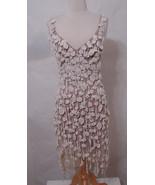 CARLOS MIELE Dress Rare Crochet Nude Illusion Asymmetrical Tiered Low Ba... - $719.99