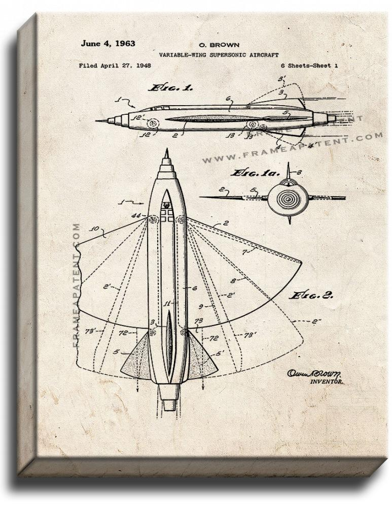 Primary image for Variable-wing Supersonic Aircraft Patent Print Old Look on Canvas