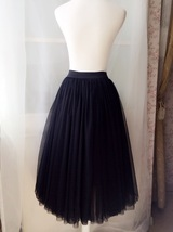"BLACK MIDI TULLE SKIRTS High Waisted Black Full Tutu Skirts -27.5""long, 24""-29""W image 4"