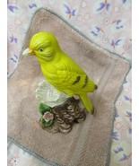 YELLOW  BIRD ON PERCH FIGURINE - $7.92