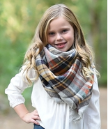 Girls Gray & Mustard Plaid Blanket Scarf Accessory MSRP $30.00 YOU SAVE ... - $18.99