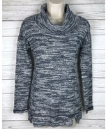 Aerie Cowl Neck Sweater Women's XS Blue White Heathered Pullover Long Sl... - $12.74