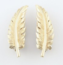 Vintage Tiffany & Co. 14KT Gold Fern Leaf Earrings Clip On - Excellent Condition - $801.90