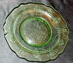 Light Green Depression Glass Dessert Plates AA20-CD0077 Vintage