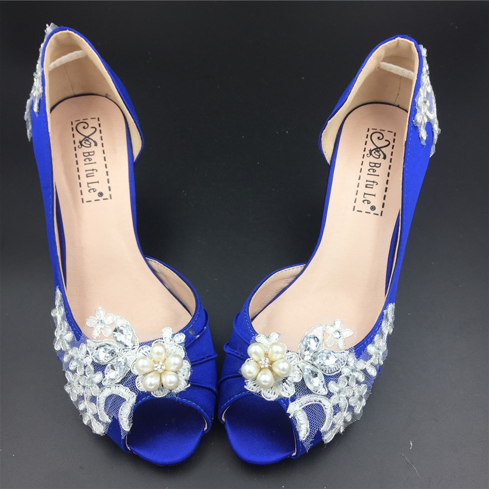 Women Blue Lace Pearls Satin Low Heels Wedding Shoes,RoyalBlue Lace Bridal Shoes image 1