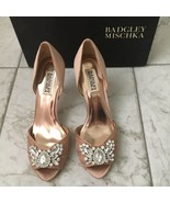 Badgley Mischka Scarlett Taupe Satin Women's Evening High Heels Peep Toe Pumps 8 - $98.74
