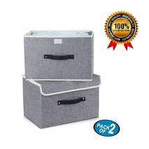 2 Pc Foldable Storage Bins Box With Lids Handles Containers Organizer Cl... - $30.71 CAD