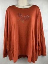 Quacker Factory Orange Leaf Embellished Sweater Size 2X - $18.70