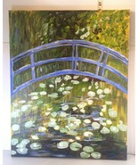 Oil Painting on Canvas, Colorful bridge over water  20x16 framed on wood - $14.84
