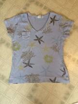 fresh produce Medium cotton Vee neck Blue Star Fish Coral  t shirt Short Sleeve - $16.69