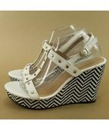 Montego Bay Club Black White Weave T Strap Wedges Heels Sandals 9.5 - $20.29